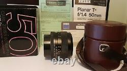 Carl zeiss planar T 50mm f1.4 primary lens Contax Yashica mount, boxed, leathet